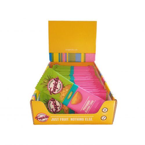 Džiovintų Ananasų - Mangų - Laimo Batonėliai, 20vnt Dėžutėje