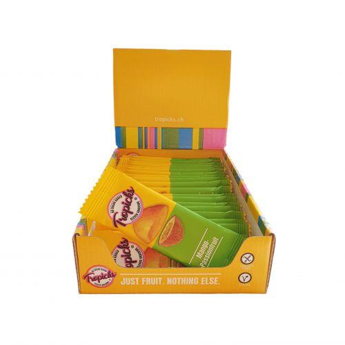 Džiovintų Mangų - Pasiflorų Batonėliai, 20vnt Dėžutėje